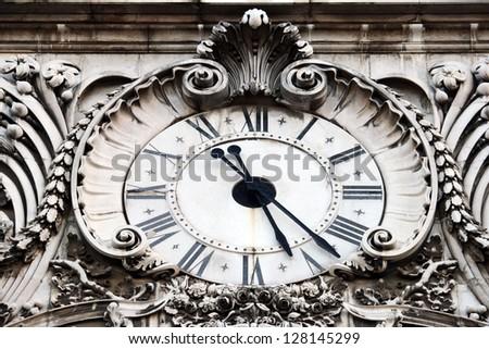 Augusta street clock, Lisbon, Portugal - stock photo