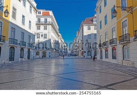 Augusta street in the morning. Lisbon. Portugal - stock photo