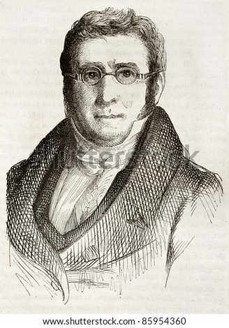 Augustin Pyramus de Candolle old engraved portrait (Swiss botanist). Created by Gigoux, published on Magasin Pittoresque, Paris, 1842 - stock photo