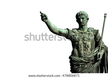 Augustus bronze monument in front of Imperial Forum, in the center of Rome (on white background)