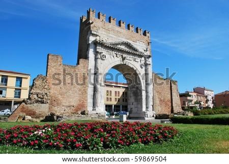 Augustus' triumph arch, historical famous roman landmark, Rimini, Italy - stock photo