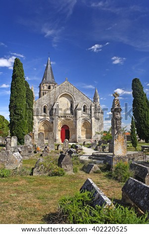 AULNAY, FRANCE - AUGUST 3, 2010: Church Saint-Pierre in Aulnay, Charente-Maritime, Poitou-Charentes. UNESCO World Heritage Site - the Pilgrim's Road to Santiago de Compostela - stock photo