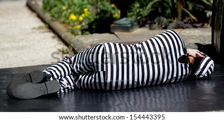 AURILLAC, FRANCE - AUGUST 21: a striped man is lying on the ground as part of the Aurillac International Street Theater Festival, Cie Les hommes papillon,on august 21, 2013, in Aurillac,France  - stock photo
