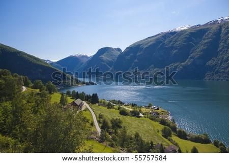 Aurlandsfjord in Norway, Aurland - stock photo