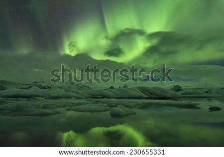 Aurora Borealis in Iceland.Jokulsarlon glacier lagoon/Aurora Borealis in Iceland Jokulsarlon - stock photo