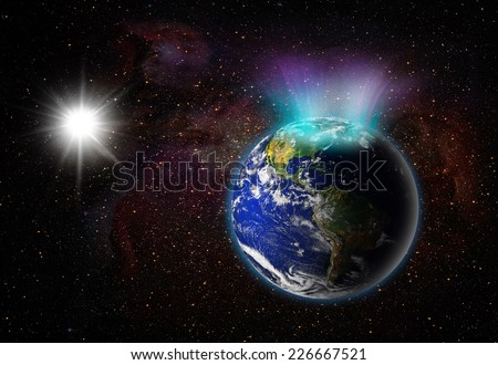 "Aurora Borealis (northern light)""Element s of this image furnished by NASA ""  - stock photo"
