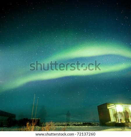 aurora borealis over  Iceland's National Park.  grainy image - stock photo