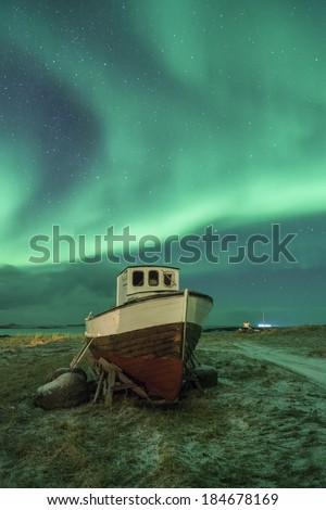 aurora borealis over the lofoten islands, norway - stock photo