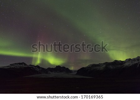 Aurora southern Iceland - stock photo