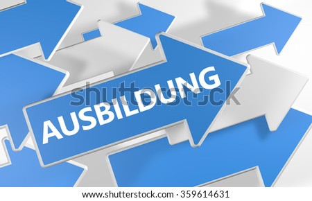 Ausbildung - german word for education, training or development - 3d render concept with blue and white arrows flying over a white background. - stock photo