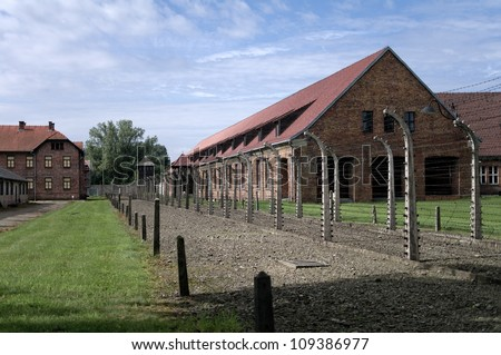 AUSCHWITZ - AUGUST 13: Block of houses in concentration camp in Auschwitz, Poland on August 13, 2011. It was the biggest nazi concentration camp in Europe during World War II.