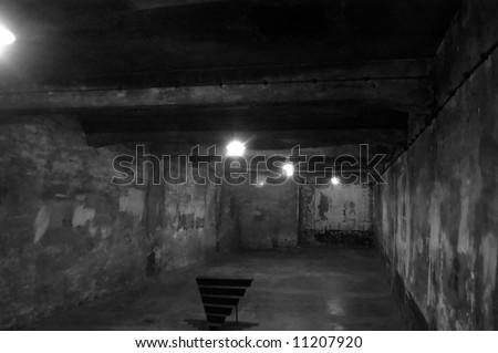 Auschwitz-Birkenau camp, Poland. The nazi gas chamber - stock photo
