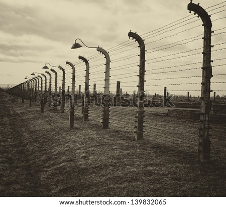 auschwitz birkenau german concentration camps in world war two - stock photo