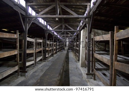 Auschwitz-Birkenau, German Nazi concentration and extermination camp in Poland - stock photo