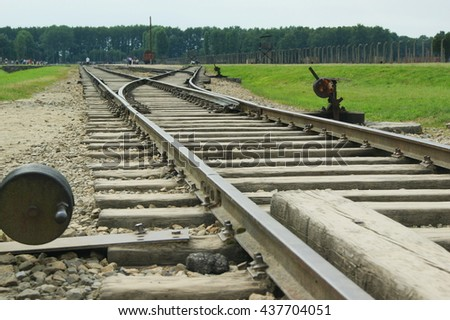 Auschwitz concentration camp in Poland. UNESCO World Heritage Site. - stock photo