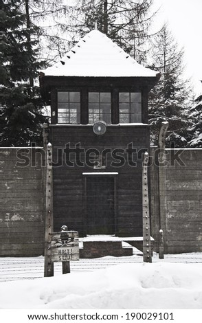 Auschwitz, Poland - January 1, 2011: The Auschwitz concentration camp is located about 50 km from Krakow.