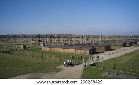 AUSCHWITZ, POLAND - OCT 29: The barracks of the infamous Auschwitz II-Birkenau, a former Nazi extermination camp and now a museum on October 29, 2013 in Oswiecim, Poland