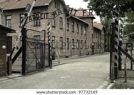 Auschwitz, the museum of Holocaust - stock photo