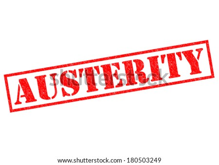 AUSTERITY red Rubber Stamp over a white background. - stock photo