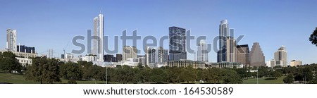 AUSTIN-OCTOBER 22: A Panorama View of the Skyline Austin at Sunny Day on October 22, 2013 Austin, Texas. Austin is the capital of the U.S. state of Texas and the 13th most populous city in the USA. - stock photo