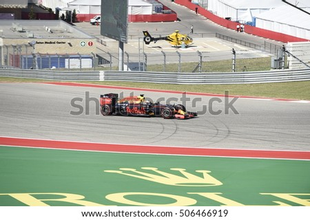 AUSTIN - OCTOBER 22:  Max Verstappen of Red Bull Racing races in the qualifying rounds at The Circuit of the Americas on October 22, 2016 in Austin, Texas.