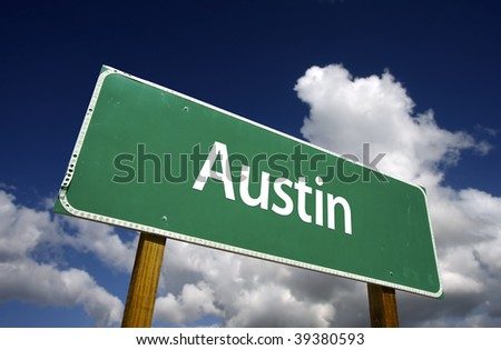 Austin Road Sign with dramatic blue sky and clouds - U.S. State Capitals Series. - stock photo