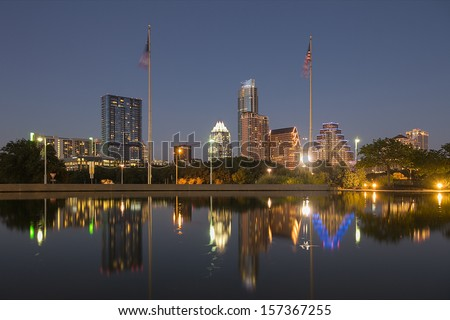 AUSTIN-SEPTEMBER 30: A View of the Skyline Austin at Sunset on September 27, 2013 Austin, Texas. Austin is the capital of the U.S. state of Texas and the 13th most populous city in the USA. - stock photo