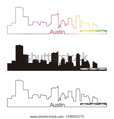 Austin skyline linear style with rainbow