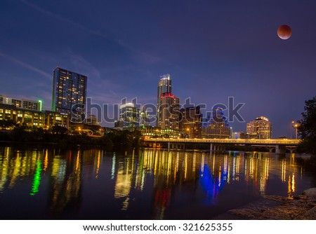 Austin skyline with blood moon. - stock photo