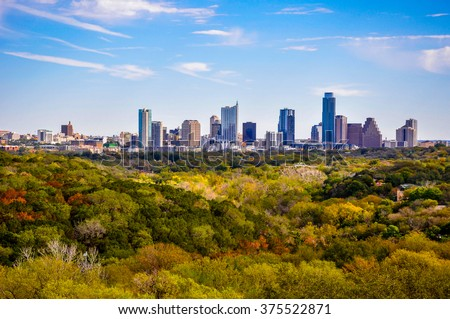 Austin Texas Autumn Greenbelt Overlook Skyline View Cityscape perfect timing as the leaves change to brightly colored yellows and oranges and all shades of green. Closer Deep Texas HIlls - stock photo