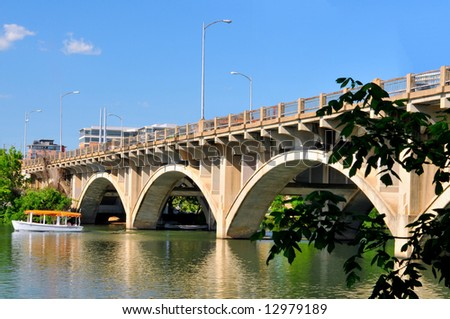 Austin Texas cityscape with Colorado River on bright sunny day - stock photo