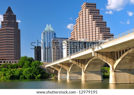 Austin Texas cityscape with Colorado River on bright sunny day - stock photo