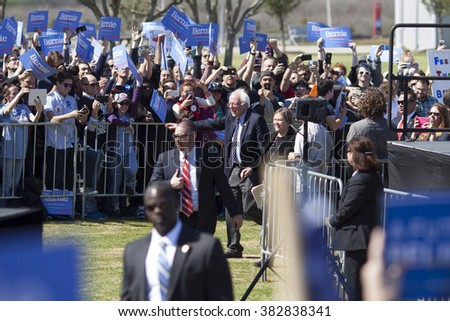 AUSTIN, TEXAS - FEBRUARY 27, 2016: Bernie Sanders and Jane Sanders arrive at a campaign rally held at the Circuit of the Americas.