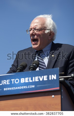 AUSTIN, TEXAS - FEBRUARY 27, 2016:  U.S. presidential candidate Senator Bernie Sanders speaks to a large crowd of over 10,000 people at the Circuit of the Americas.