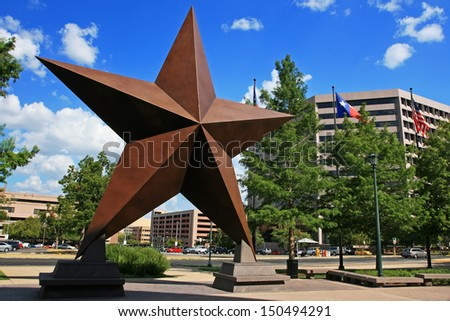 AUSTIN,TEXAS-JUL 19: Big star decorated in town against blue sky on July 19, 2008 in Austin, Texas, USA. Austin, capital city of Texas state settled in 1835, is the 11th most populous city in US. - stock photo
