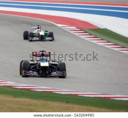 AUSTIN, TEXAS � NOVEMBER 16.  Team Sauber races in the Formula One Qualifying Session at the Circuit of the America's race track on November 16, 2013 in Austin, Texas.