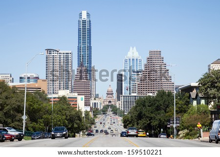 AUSTIN, TEXAS -SEPTEMBER 30: A View of the Skyline Austin on September 30, 2013 Austin, Texas. Austin is the capital of the U.S. state of Texas and the 13th most populous city in the USA.