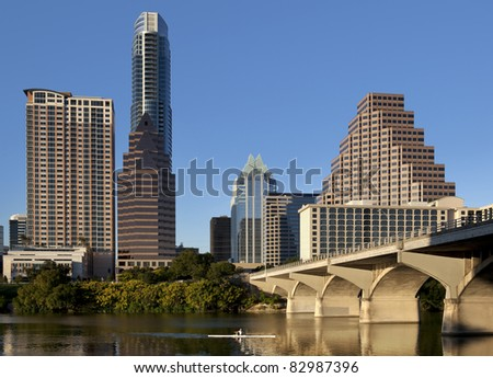 Austin, Texas skyline, Lady Bird Lake and Congress Avenue Bridge - stock photo