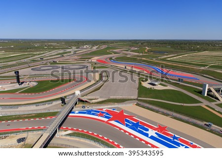 AUSTIN, TEXAS / USA - MARCH 20 1016: The race track at Circuit of The Americas in Austin, TX.