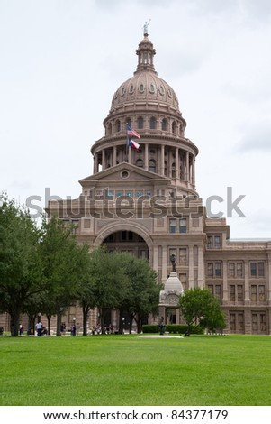 AUSTIN, TX - AUG 13: The Texas state capitol building in Austin, Texas on August 13, 2011. The capitol has 360,000 square feet of floor space, more than any other state capitol building. - stock photo