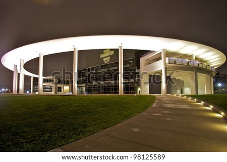 AUSTIN, TX - MAR 12: SXSW Interactive Conference on March 12, 2012 in Austin. Long Center at night - stock photo