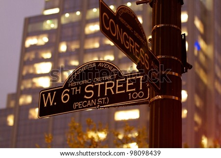 AUSTIN, TX - MAR 12: SXSW Interactive Conference on March 12, 2012 in Austin. Stree signs on 6th - stock photo