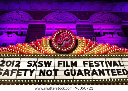 AUSTIN, TX - MAR 10: SXSWi 2012. Marquee for SXSW Interactive Conference on March 10, 2012 in Austin, Texas. - stock photo