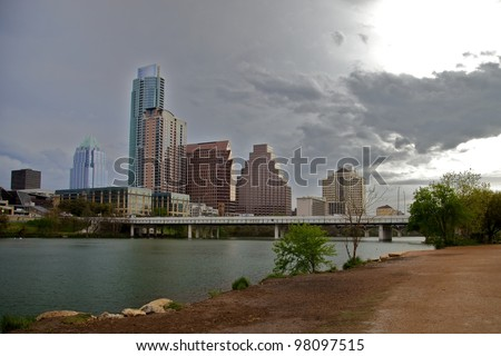 Austin, TX - March 9: SXSW Interactive Conference in Austin. Downtown view - stock photo