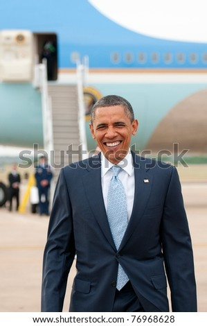 AUSTIN, TX- MAY 10: President Barack Obama arrives in Austin, TX on May 10, 2011 to attend a Democratic campaign fund-raiser. - stock photo