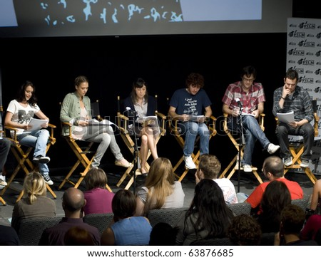AUSTIN,TX - OCT. 24:  Alexa Vega, Jessica Alba,Aubrey Plaza, Bill Hader and Colin Hanks read the ' The Hand Job ' Script during  Austin Film Festival on October 24, 2010 in Austin, TX. - stock photo
