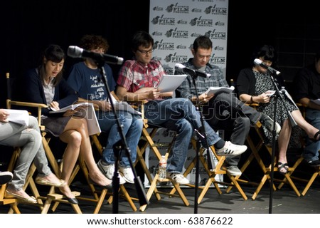 AUSTIN,TX - OCT. 24: Aubrey Plaza, Daryl Sabara, Bill Hader and Colin Hanks read ' The Hand Job ' Script  during the 17th Annual Austin Film Festival on October 24, 2010 in Austin, TX. - stock photo