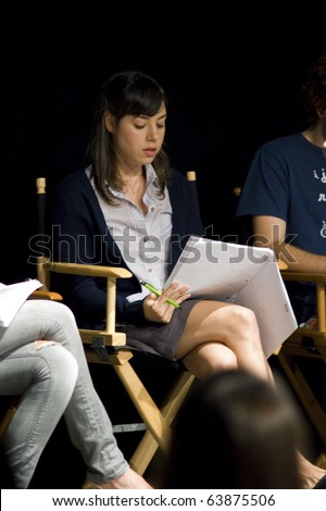 AUSTIN,TX - OCTOBER 24: Actress Aubrey Plaza attends the ' The Hand Job ' Script Reading at the Rollins Theatre during the 17th Annual Austin Film Festival on October 24, 2010 in Austin, TX. - stock photo