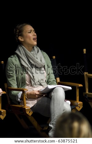AUSTIN,TX - OCTOBER 24:  Angry Jessica Alba at ' The Hand Job ' Scrip Reading at the Rollins Theatre during the 17th Annual Austin Film Festival on October 24, 2010 in Austin, TX. - stock photo