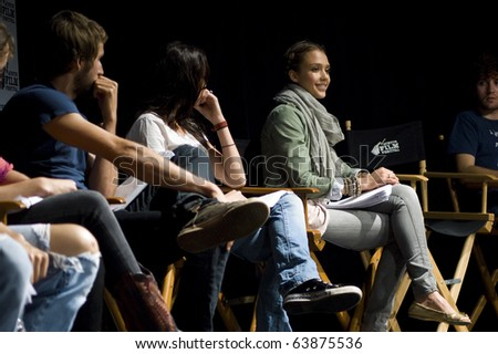 AUSTIN,TX - OCTOBER 24: Everybody listens as Jessica Alba talks about ' The Hand Job ' Script at the Rollins Theatre during the 17th Annual Austin Film Festival on October 24, 2010 in Austin, TX. - stock photo